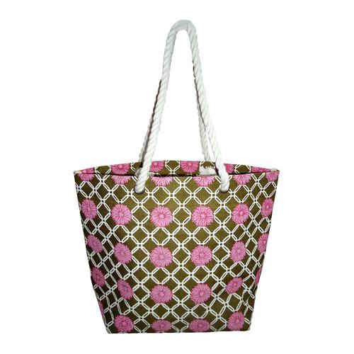 Floral Print Jute Beach Bag