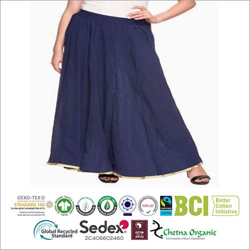 Blue Cotton Ladies Skirts