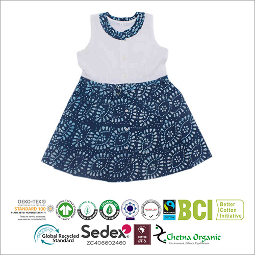 Kids Organic Cotton Muslin Printed Dungaree Dress