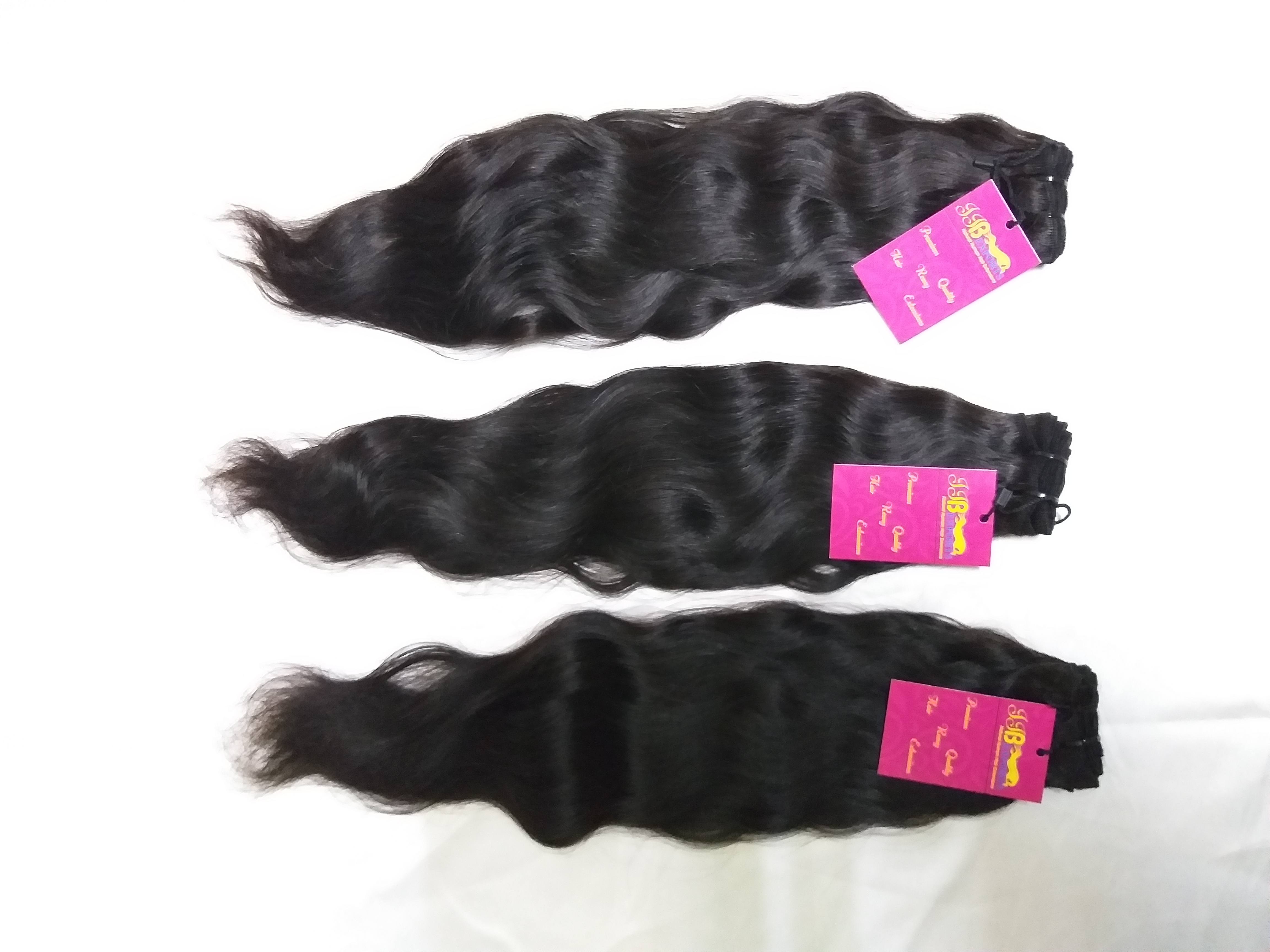 100% Natural Color Wavy Remy Virgin Wefted Human Hair Extensions