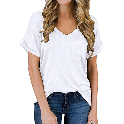 Womens White V Neck T-Shirt