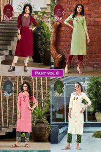 Pant Vol 6 Rayon, Cotton Flex Kurti With Pant Set