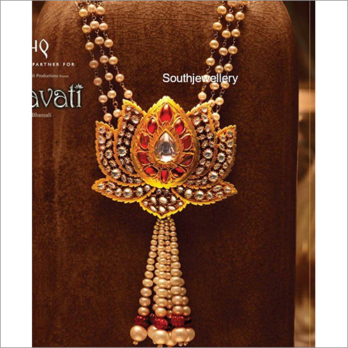 Pearls Mala with Lotus Pendant - Indian Jewellery Designs