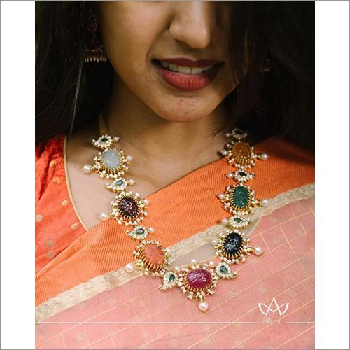 Stunning Diamond Navratna Necklace From Aarni By Shravani