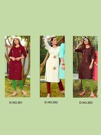 Gunjan Vol 2 Daily Wear Slub Cotton Embroidery Kurtis Catalogue