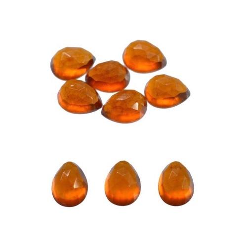 5x8mm Hessonite Garnet Rose Cut Pear Loose Gemstones