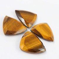 6mm Tiger Eye Faceted Trillion Loose Gemstones