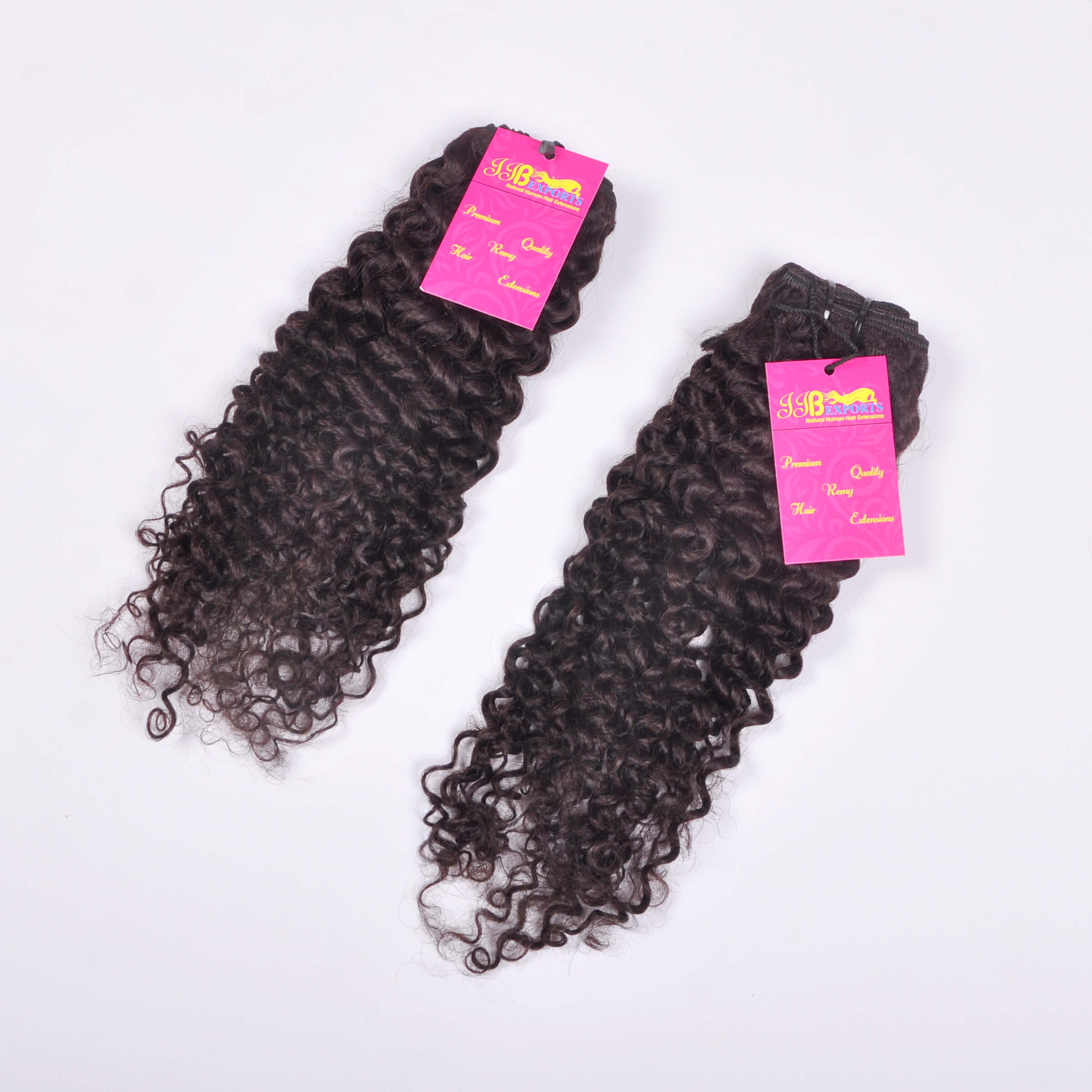 Indian Virgin Unprocessed Raw Curly Human Hair Machine Made Double Wefted Bundles