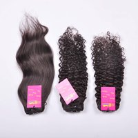 Machine Wefted Indian Raw Unprocessed Virgin Single Drawn Curly/straight Human Hair Bundle