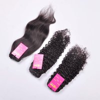 Natural Raw Mink Unprocessed Cuticle Aligned Virgin Human Straight Human Hair Bundle With Frontal Closure