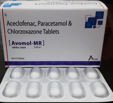 Aceclofenac100mg, Paracetamol 325mg& Chlorzoxazone 250mg Tablets