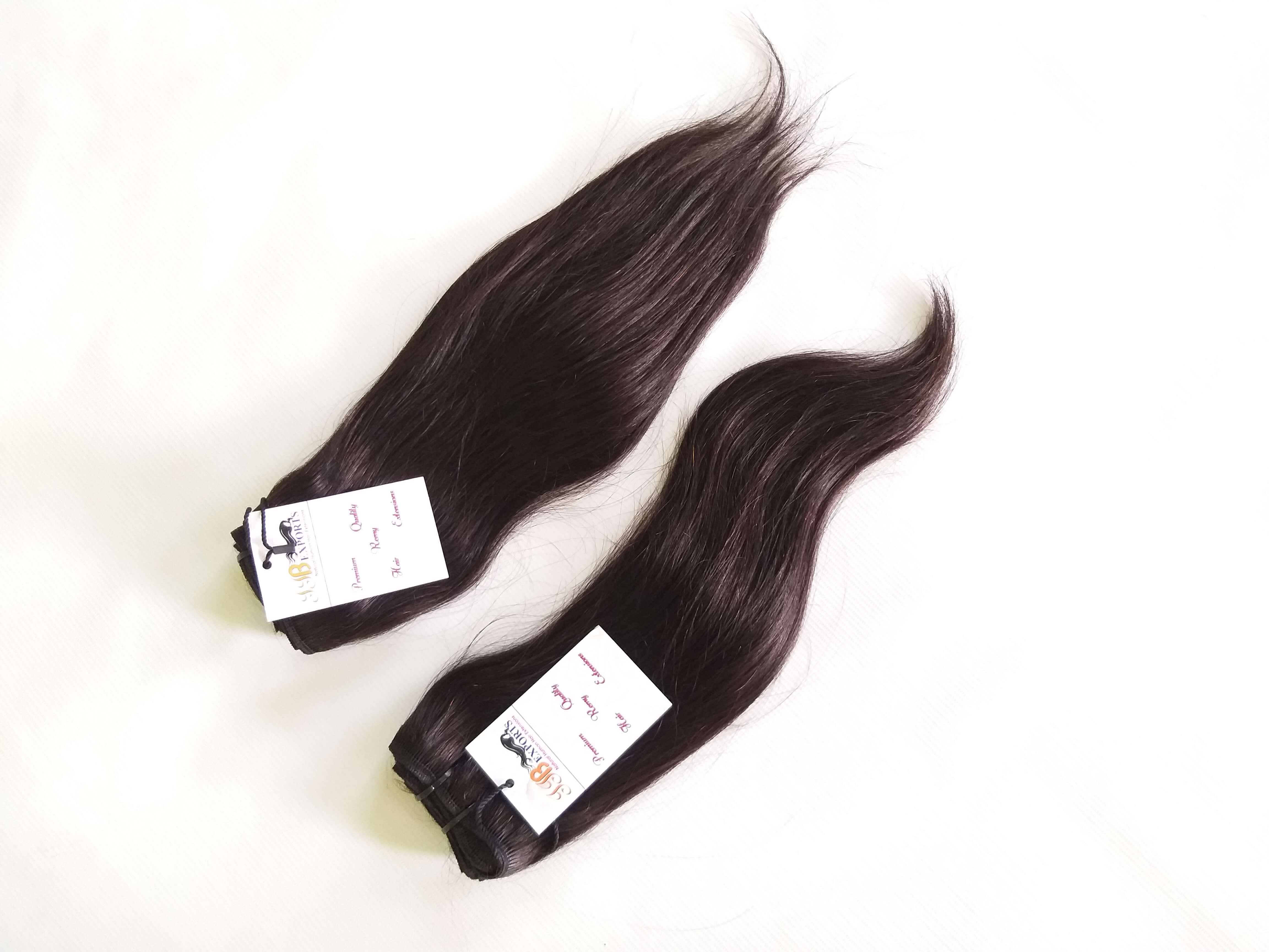 Indian Raw Hair Single Drawn Wefted Tangle Freenatural Straight Human Virgin Hair Bundles
