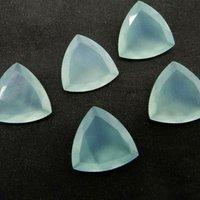 9mm Aqua Chalcedony Faceted Trillion Loose Gemstones