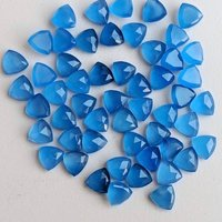 5mm Blue Chalcedony Faceted Trillion Loose Gemstones