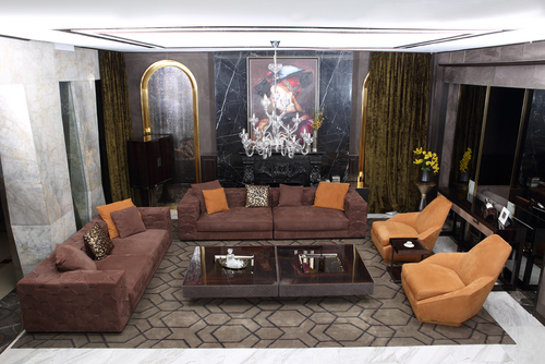 High END Italian Furniture Full Suede Leather Sofa Chesterfield Sofa For Villa