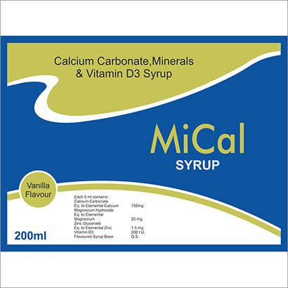 Calcium Carbonate, Minerals And Vitamin D3 Syrup Certifications: Iso 9001:2015