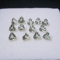 4mm Green Amethyst Faceted Trillion Loose Gemstones