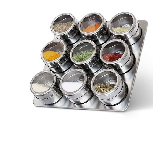Set of 9 Pc Stainless Steel Magnetic Spice Jar