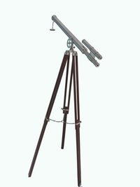 Floor Standing Double Barrel Brass Telescope With Wooden Stand