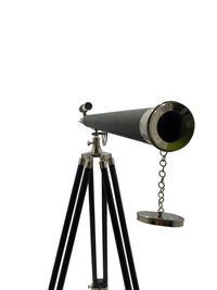 Chrome Finish Brass Telescope Leather Sheltered with Wooden Stand