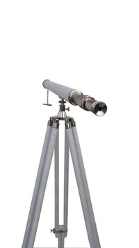 White Leather Sheltered Brass Telescope