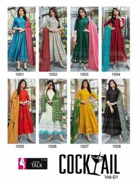 Cocktail  Vol 1 Rayon 14 Kg Classic Print With Foil Kurtis With Dupatta Catalogue