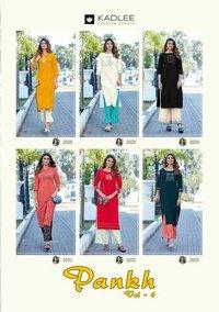 Pankh Vol-4 By Kadlee Rayon Handwork Kurtis Plazzo Catalogue