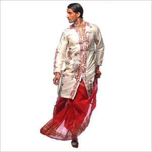 Mens Embroidery Kurta With Dhoti