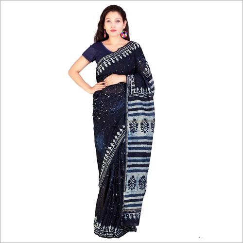 Chanderi Original Hand Block Silk Cotton Indigo Print Saree