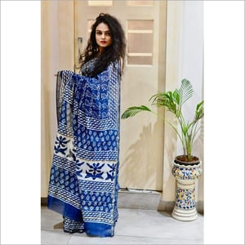 Original Hand Block Silk Cotton Indigo Print Saree