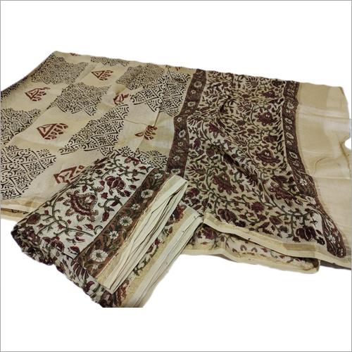 Chanderi Hand Block Silk Cotton Kalamkari Print Dress Material 3 Piece Set