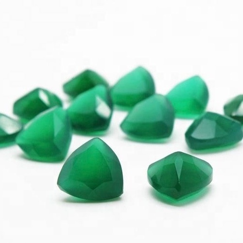 3mm Green Onyx Faceted Trillion Loose Gemstones
