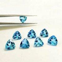 9mm Swiss Blue Topaz Faceted Trillion Loose Gemstones