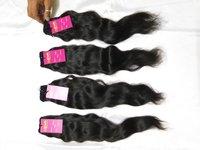 Indian Virgin Raw Human Wavy Hair Machine Wefted Hair Remy Bundles