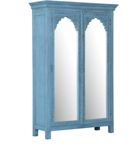 Blue Almirah with mirror.