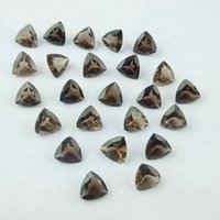 4mm Smoky Quartz Faceted Trillion Loose Gemstones