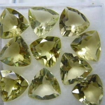 8mm Lemon Quartz Faceted Trillion Loose Gemstones