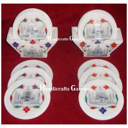 Handmade Marble Taj Mahal Inlay Design Coaster Set For Decorative