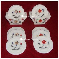Beautiful White Marble Stone Inlay Tea Coaster Set For Gifts