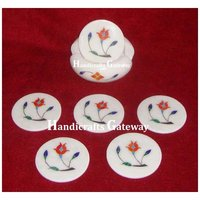 Exclusive Marble Stone Flower Design Coaster For Home Use