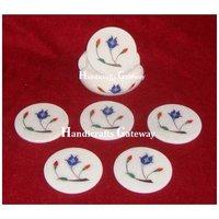 Marble Lapis Lazuli Stone Inlay Work Tea Coaster
