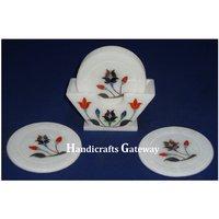 Antique Marble Inlay Work Tea Coaster Set