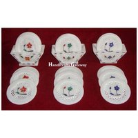 Stone Inlay Design Tea Coaster Set