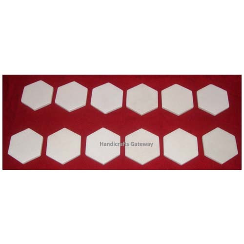 Handmade Octagonal Shape Marble Plain Coaster Set
