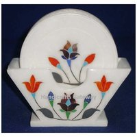 Marble Different Different Semi Precious Stone Inlay Work Coaster Set