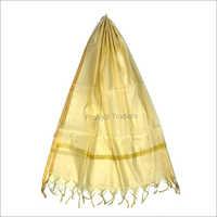 Plain Benarasi Silk Gold-Striped Dupatta
