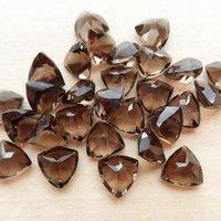6mm Smoky Quartz Faceted Trillion Loose Gemstones