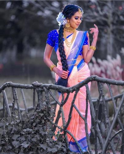 Traditional Kanchipuram Reach   With lovely BLUE Pallu WEAVING at its finest and most classic!
