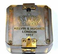 SOLID BRASS KELVIN & HUGHES 1917 BRUNTON COMPASS ~ ANTIQUE COMPASS VINTAGE GIFT