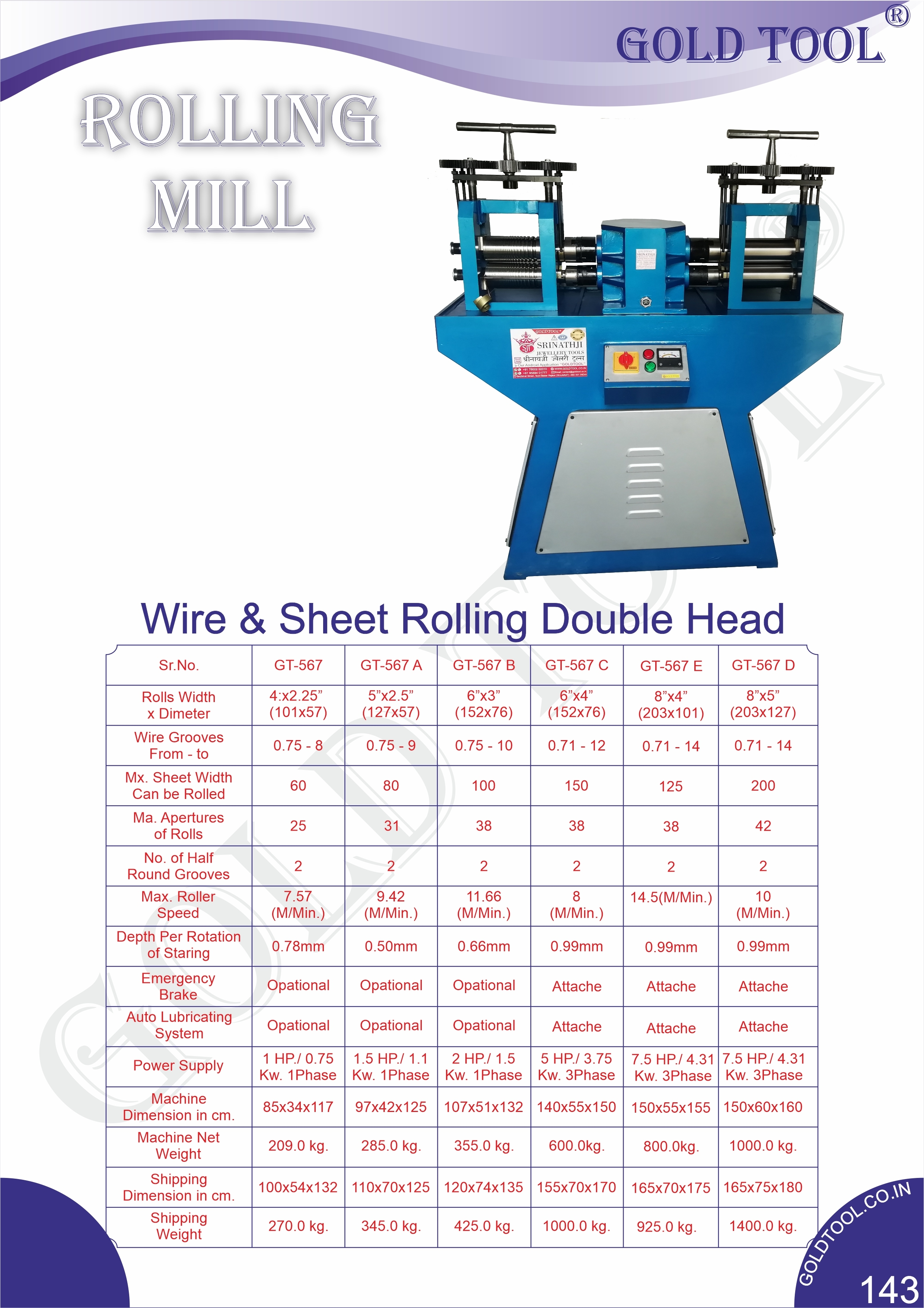 Gold Tool Wire & Sheet Rolling Mill Double Head Rolling Machine Jewelry Marking Machine